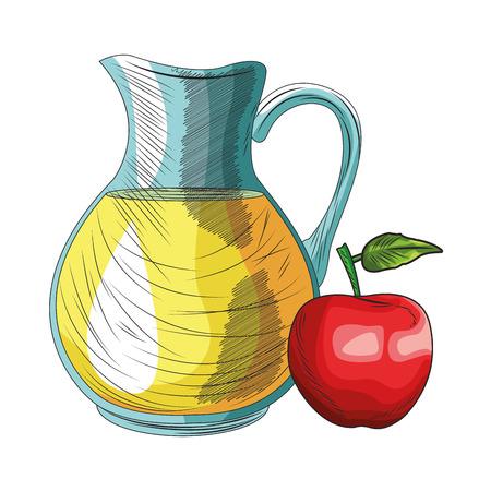 Fresh fruit nutrition healthy grouped orange juice and apple fitness diet options vector illustration graphic design Banco de Imagens - 122383104