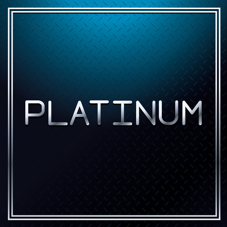 platinum metallic font on blue metallic texture with square frame vector illustration