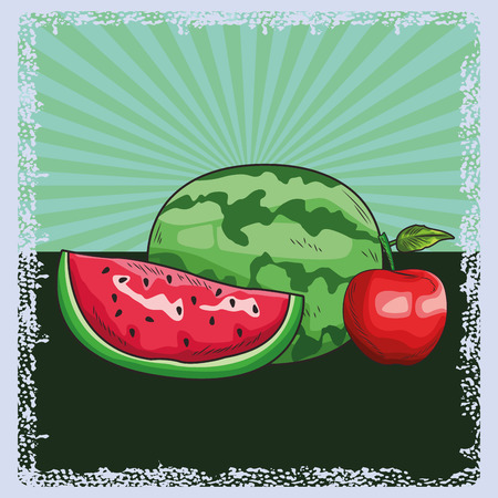 Fresh fruit nutrition healthy grouped colorful watermelon and apple fitness diet options drawing surface background vector illustration graphic design