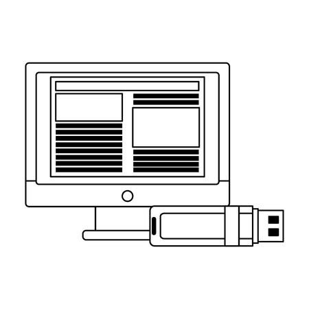 Business and office technology computer and usb vector illustration graphic design