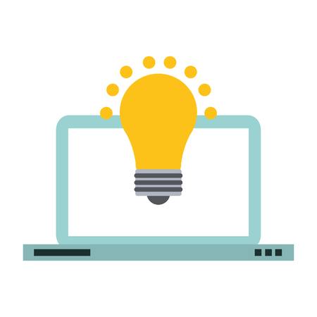 Laptop computer and bulb light idea symbol vector illustration graphic design Vectores