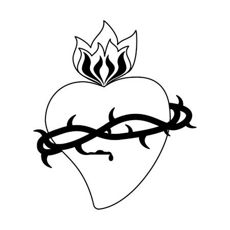 Sacro cuore con simbolo di fiamma illustrazione vettoriale graphic design