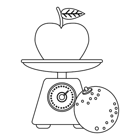 Healthy lifestyle and weight loss apple on balance and orange vector illustration graphic design