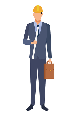 Construction engineer with plans and briefcase vector illustration graphic design