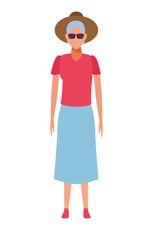 old woman wearing summer clothes sunglasses and hat avatar cartoon character vector illustration graphic design