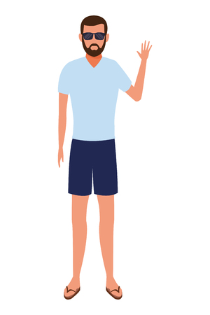 man wearing summer clothes and sunglasses avatar cartoon character vector illustration graphic design