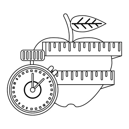 Healthy lifestyle and weight loss apple with measurement apple and timer vector illustration graphic design Illustration
