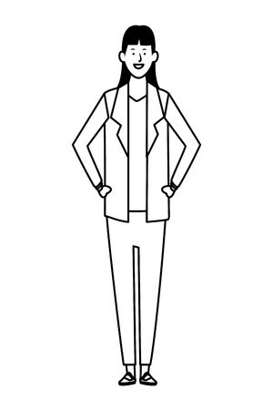 businesswoman avatar cartoon character black and white vector illustration graphic design Ilustração