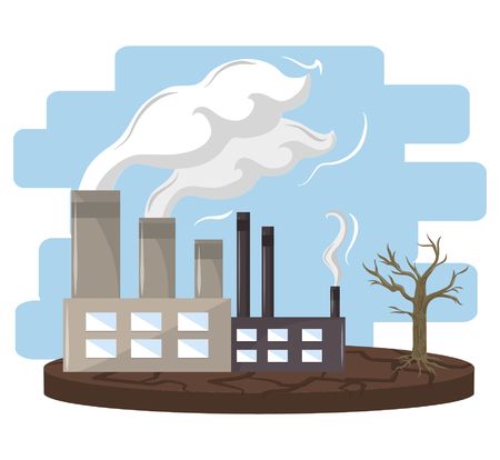 industry with smoke polluting icon cartoon vector illustration graphic design
