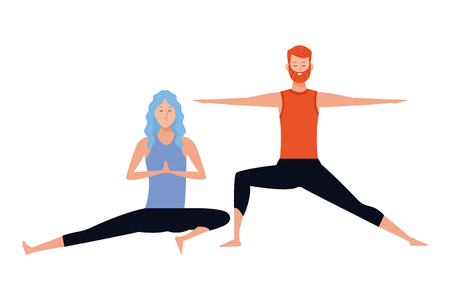 couple yoga poses avatars cartoon character with beard vector illustration graphic design