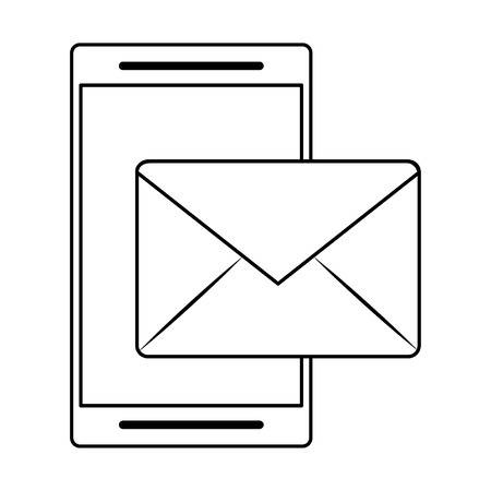 cellphone and envelope icon cartoon vector illustration graphic design Illustration