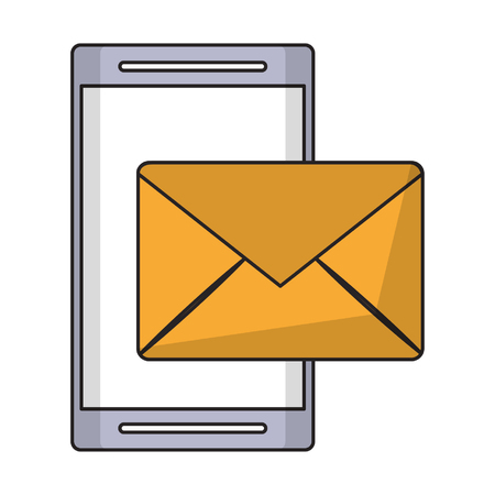 cellphone and envelope icon cartoon vector illustration graphic design