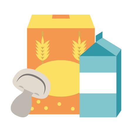 wheat flour mushroom and milk icon cartoon vector illustration graphic design