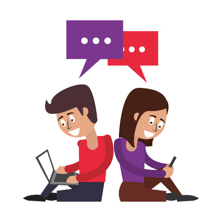 couple with cellphone and laptop and speech bubble icon cartoon vector illustration graphic design Çizim