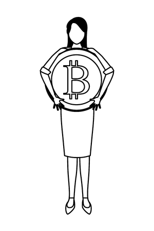 Businesswoman with bitcoin avatar vector illustration graphic design Ilustração