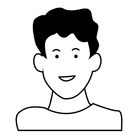 Kid boy face smiling profile vector illustration graphic design Vettoriali