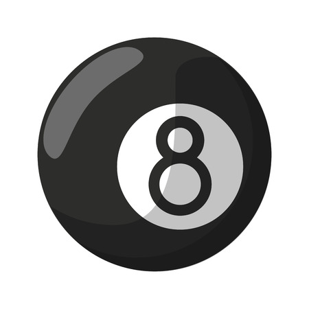 Pool eight ball cartoon isolated black and white Vettoriali