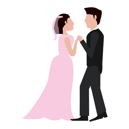 Wedding couple dancing cartoon isolated vector illustration graphic design Ilustrace