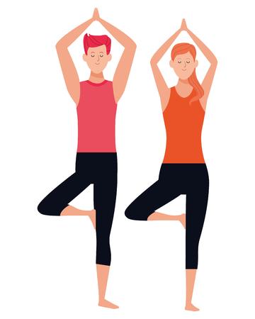 couple yoga poses avatars cartoon character vector illustration graphic design Illustration