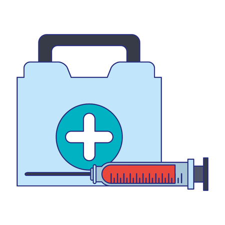 Medical healthcare equipment first aids suitcase and syringe vector illustration graphic design