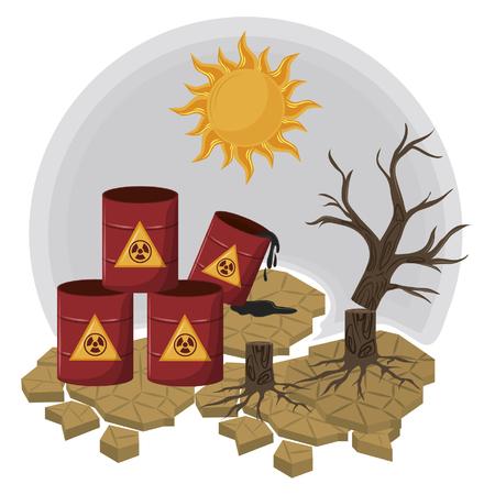 hazardous waste and dead tree with sun icon cartoon vector illustration graphic design