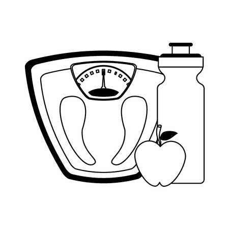 Fitness and gym equipment body scale and apple with water bottle vector illustration graphic design Ilustração