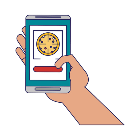 pizza delivery from smartphone hand vector illustration graphic design