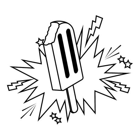 Eis am Stiel und Sprechblase Symbole Schwarz-Weiß-Vektor-Illustration-Grafik-Design