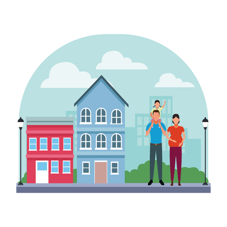 family avatar cartoon character couple pregnant with child   in the neighborhood cityscape scenery vector illustration graphic design Ilustração