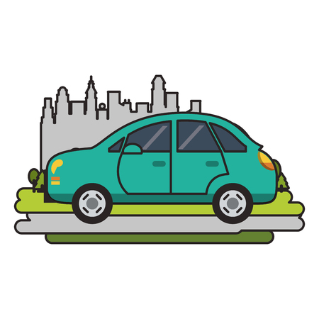 Car vehicle isolated passing by city vector illustration graphic design