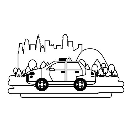 Police car vehicle isolated passing by city vector illustration graphic design Stock Illustratie
