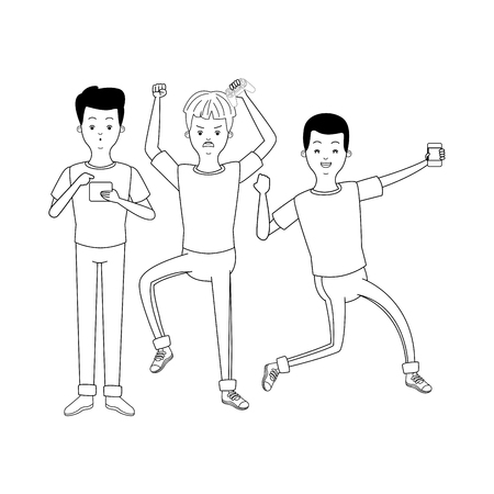 Millennial people gaming party using smartphone holding controller black and white vector illustration graphic design