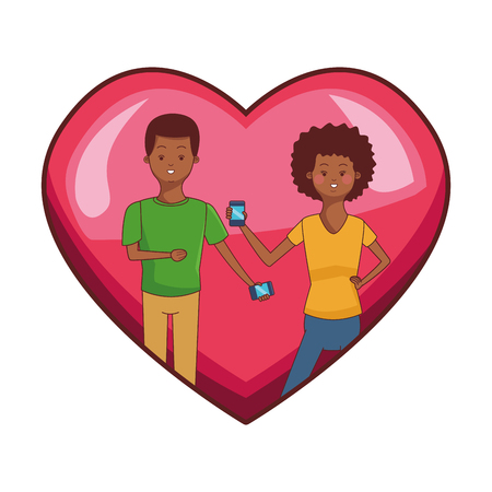 love couple young people inside heart icon using technology smartphone cartoon vector illustration graphic design Ilustração