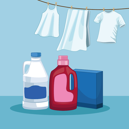 House keeping and laundry supplies clean clothing with clean products scene elements cartoon vector illustration graphic design