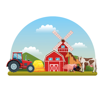 farm animals in front farmerhouse and tractor cartoon vector illustration graphic design Illustration