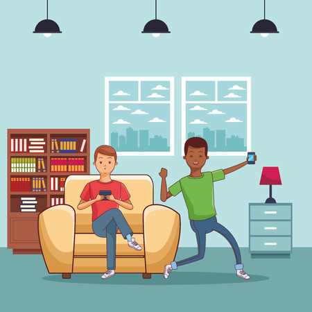 young casual men friends excited using smartphone device sitting at couch in furniture house home room scene cartoon vector illustration graphic design Standard-Bild - 122650027