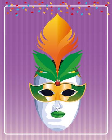 mask with feathers pop art icon cartoon vector illustration graphic design Stock Illustratie