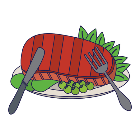 Beef steak with lettuce and cutlery cartoon vector illustration graphic design