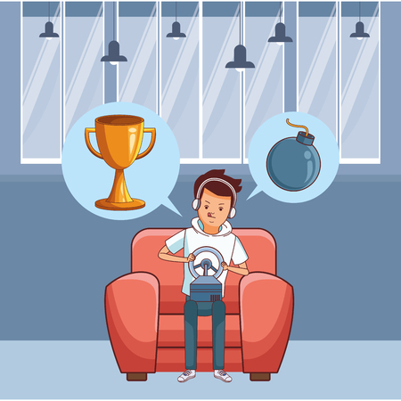 video game scene young man playing on couch fast car game cartoon  inside home with furniture scenery vector illustration graphic design