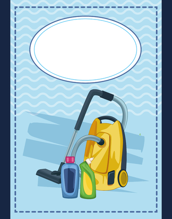 housekeeping cleaning elements card with vacuum cleaner and clean products cartoon vector illustration graphic design Vettoriali