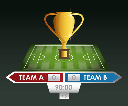 Soccer trophy cup with scoring match vector illustration graphic design Illustration