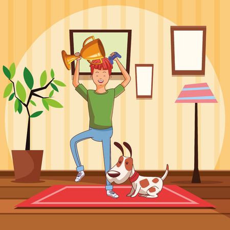video game scene young champion winner man playing with dog doggy pet cartoon  inside home with furniture scenery vector illustration graphic design
