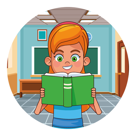 Girl reading book in classroom round icon vector illustration graphic design