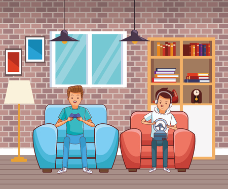 video game scene young men friends playing on couch fast car game cartoon  inside home with furniture scenery vector illustration graphic design