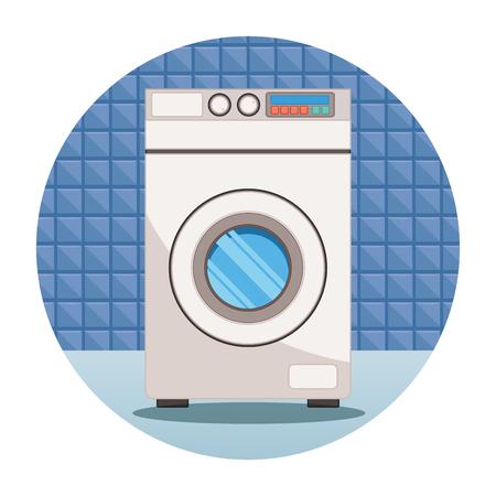 House keeping and laundry supplies washing machine scene cartoon vector illustration graphic design Illustration