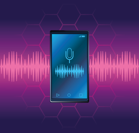 Smartphone voice recognition speaker over purples waves background vector illustration graphic design