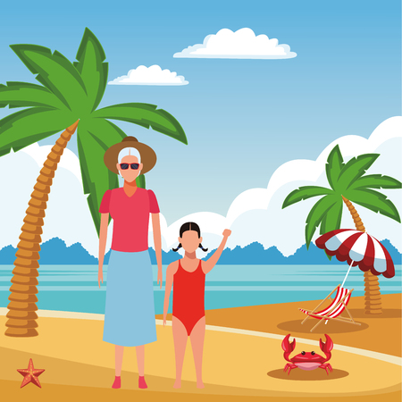summer vacation woman at beach with girl cartoon vector illustration graphic design