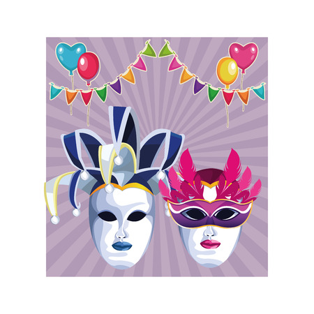 masks with feathers icon cartoon with pendants and heart balloons vector illustration graphic design