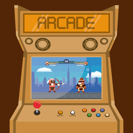 Retro videogame  arcade machine action fighting games characters lifebars card vector illustration graphic design
