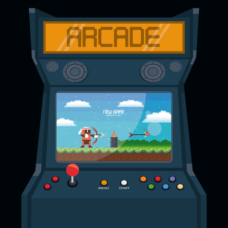 Retro videogame  arcade action adventure platformer machine joystic card vector illustration graphic design